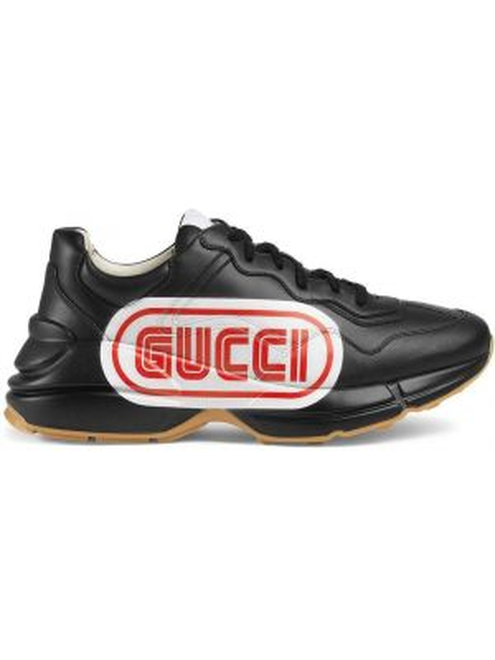 Skórzany czarny skórzane sneakersy gruba podeszwa na klinie Gucci