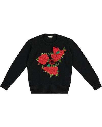 Miękki wełniany czarny sweter Dolce & Gabbana Kids