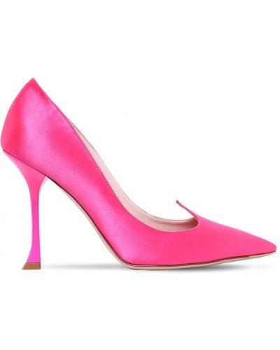 Туфли на каблуке кожаные атласные Roger Vivier