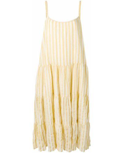 Желтое свободное платье макси с открытой спиной Sundress