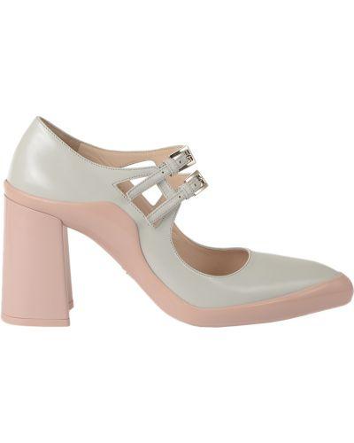 Кожаные туфли - серые Prada