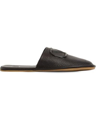 Тапочки на каблуке - черные Valentino Garavani