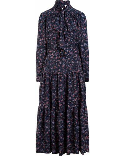 Платье миди в цветочный принт - черное Laroom