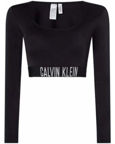 Czarna bluzka z długimi rękawami z paskiem Calvin Klein Underwear