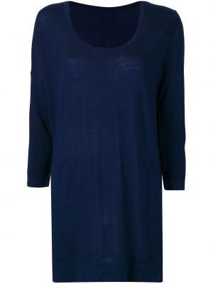 Синий шерстяной вязаный длинный свитер Sottomettimi