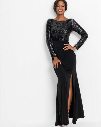 Черное платье макси с пайетками Bonprix