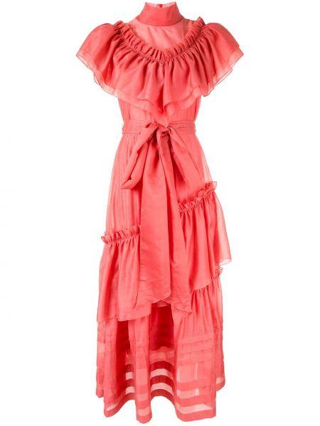 Шелковое платье макси - розовое Anna October