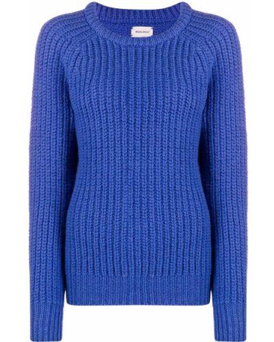 Шерстяной прямой синий вязаный джемпер с вырезом Woolrich