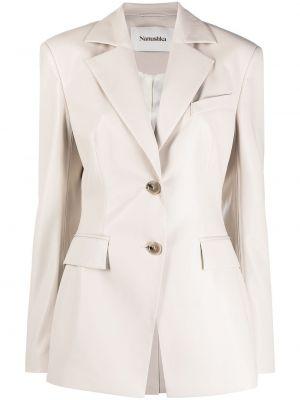 Однобортный кожаный удлиненный пиджак с карманами Nanushka