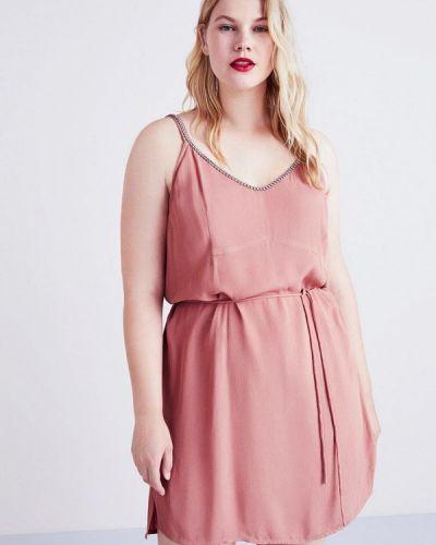 Розовое платье осеннее Violeta By Mango