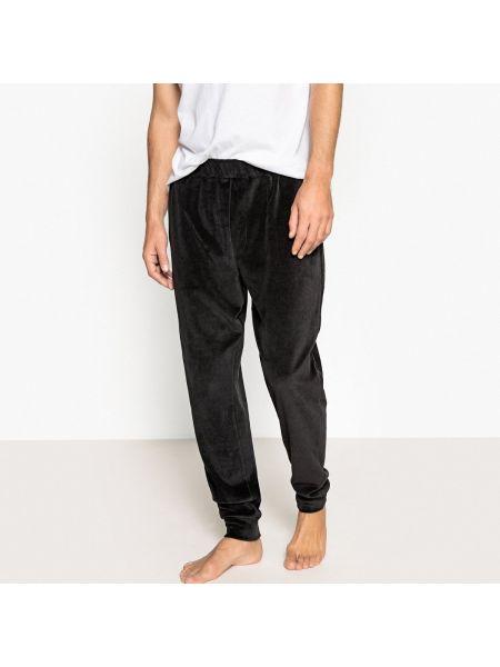 Велюровые черные брюки с карманами на шнурках La Redoute Collections