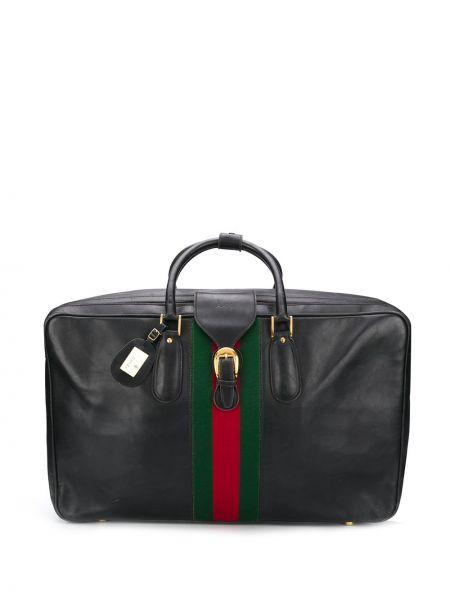 Золотистая черная дорожная сумка металлическая с декоративной отделкой Gucci Pre-owned