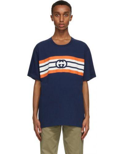 Niebieski bawełna koszula krótkie rękawy z paskami Gucci