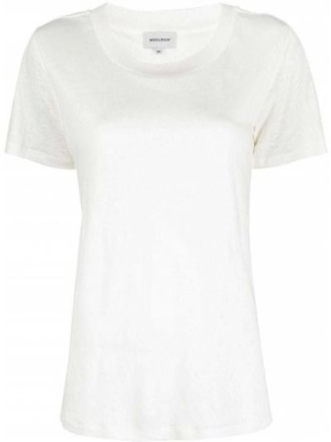 Хлопковая белая футболка с вырезом Woolrich