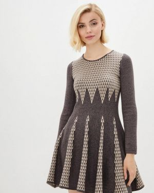Коричневое клубное вязаное платье Nataclub