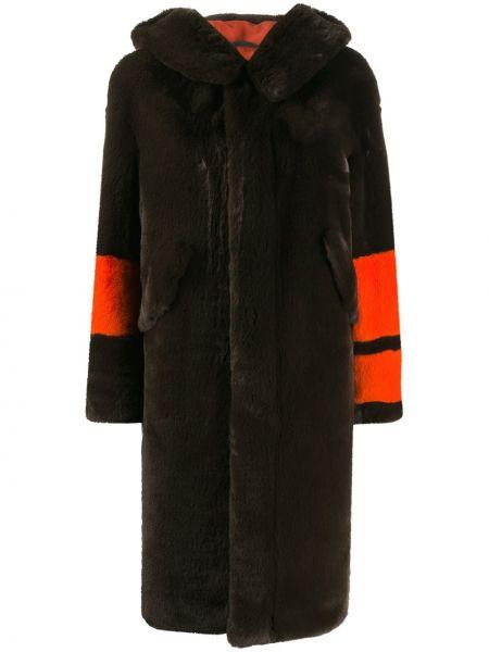 С рукавами коралловое пальто с капюшоном из искусственного меха с карманами Mr & Mrs Italy