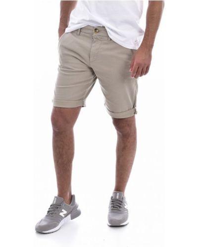 Beżowe bermudy jeansowe bawełniane Guess