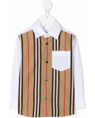 С рукавами белая классическая рубашка в клетку Burberry