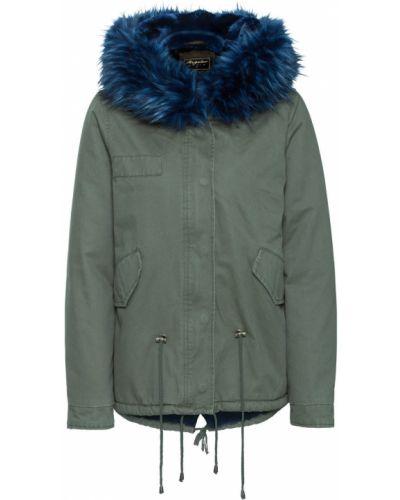 Куртка с капюшоном синий зеленая Bonprix