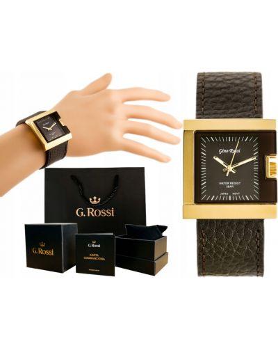 Klasyczny biały złoty zegarek na skórzanym pasku Gino Rossi