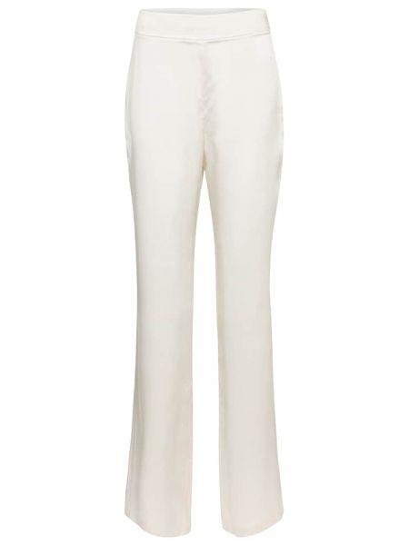 Шелковые прямые белые брюки Safiyaa
