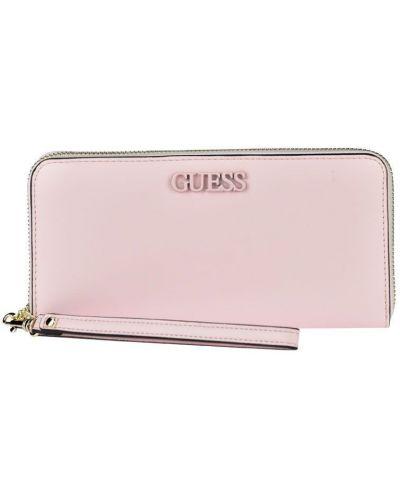 Бежевый кошелек на молнии с карманами Guess
