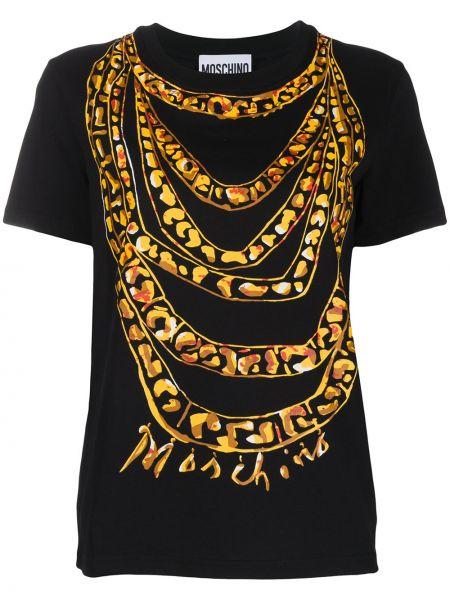 Czarny t-shirt bawełniany z printem Moschino