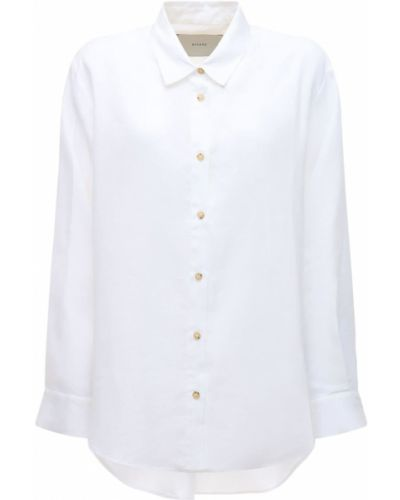 Льняная белая рубашка с манжетами Asceno