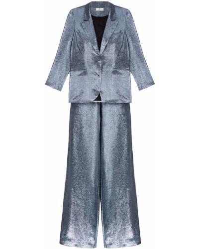 Шелковый костюм - серебряный Laroom