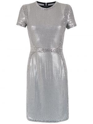 Серебряное прямое приталенное платье мини с пайетками Gloria Coelho