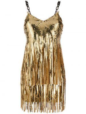 Открытое платье с открытой спиной золотое Philipp Plein