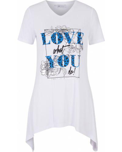 Белая футболка длинная Bonprix