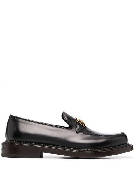 Czarny skórzany loafers Salvatore Ferragamo