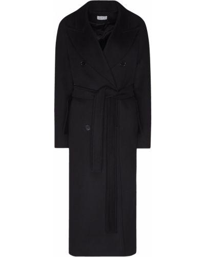 Шерстяное черное пальто с карманами ли-лу