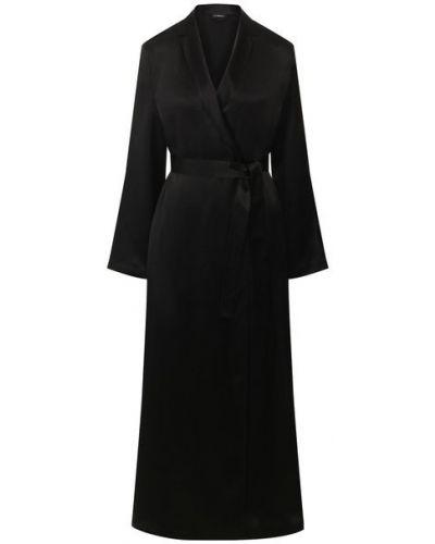Черный шелковый халат с поясом La Perla