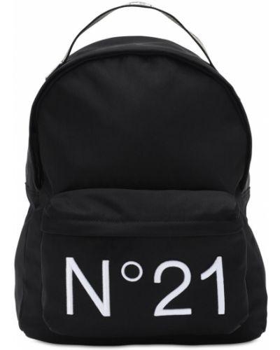 Czarny plecak z haftem z nylonu N°21
