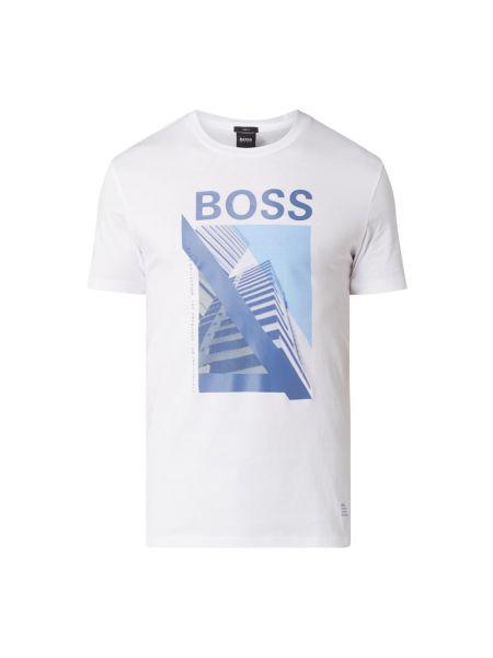 Bawełna biały koszula z dekoltem okrągły Boss