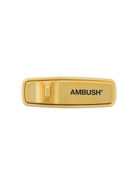 Желтая брошь металлическая Ambush