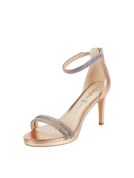 Złote sandały na szpilce Buffalo