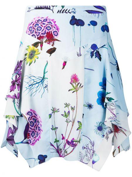 Шелковая синяя плиссированная юбка мини Stella Mccartney