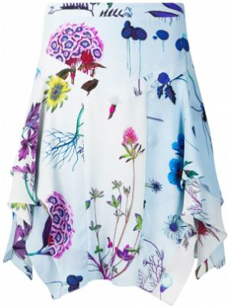 Приталенная синяя юбка мини на молнии с драпировкой Stella Mccartney