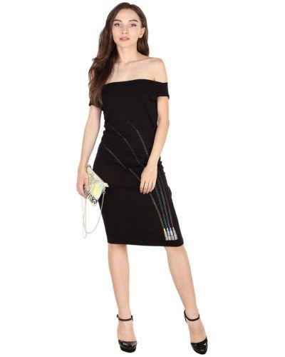 Черное платье со стразами из вискозы Roccobarocco