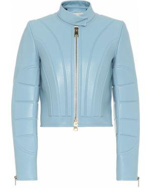 Укороченная кожаная куртка - синяя Bottega Veneta