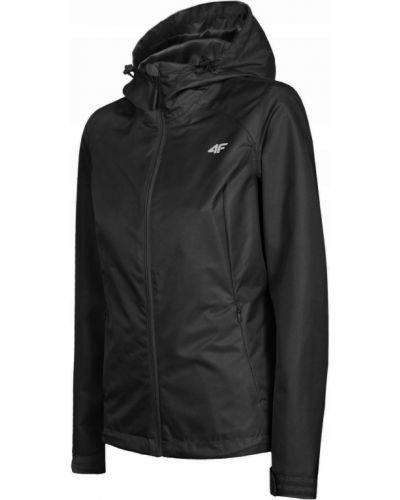 Czarna kurtka z kapturem z długimi rękawami 4f