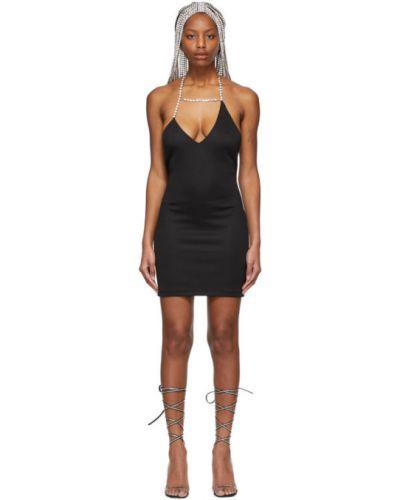 Трикотажное черное платье мини без рукавов Area