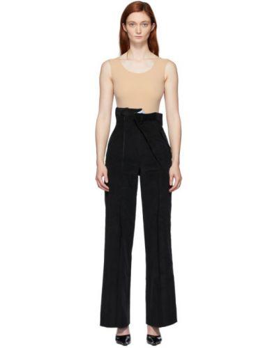 Брючные черные брюки с поясом вельветовые Situationist