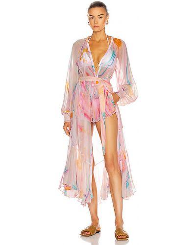 Розовое платье на резинке из вискозы Rococo Sand