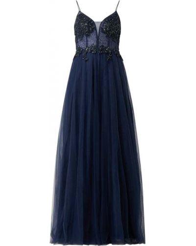 Niebieska sukienka wieczorowa rozkloszowana tiulowa Mascara