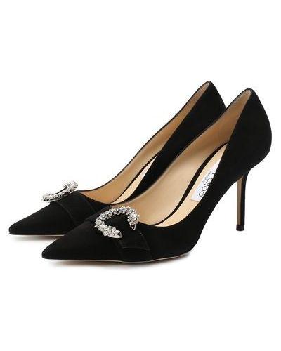С ремешком черные замшевые туфли на шпильке Jimmy Choo
