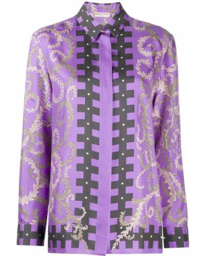 Фиолетовая шелковая классическая рубашка с высоким воротником Emilio Pucci